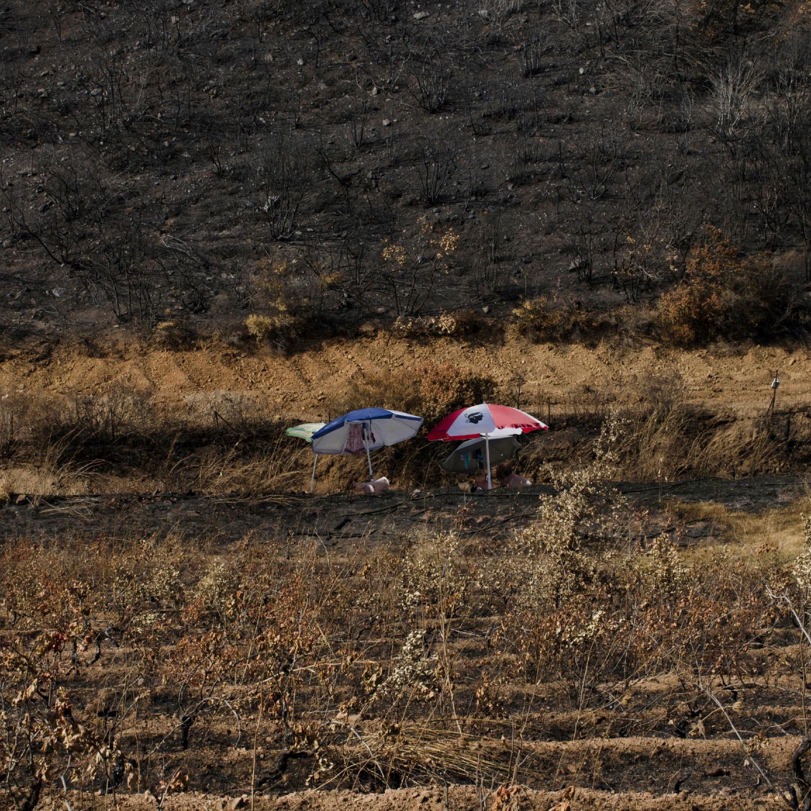 Bagnanti lungo le coste sarde postprodotti nel territorio all'ingresso di Villagrande Strisaili, in provincia d'Ogliastra, che nell'estate 2017 è stato vittima di un gravoso incendio. © Francesca Pili.